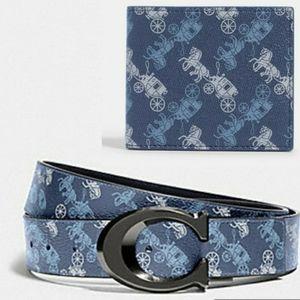 Coach reversible Belt and billfold wallet bundle
